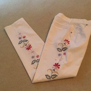 Piazza Sempione Jeans - Piazza Sempione Embroidered White Cotton Jeans